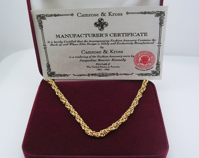 Jackie Kennedy Gold Plated Rope Necklace with Certificate