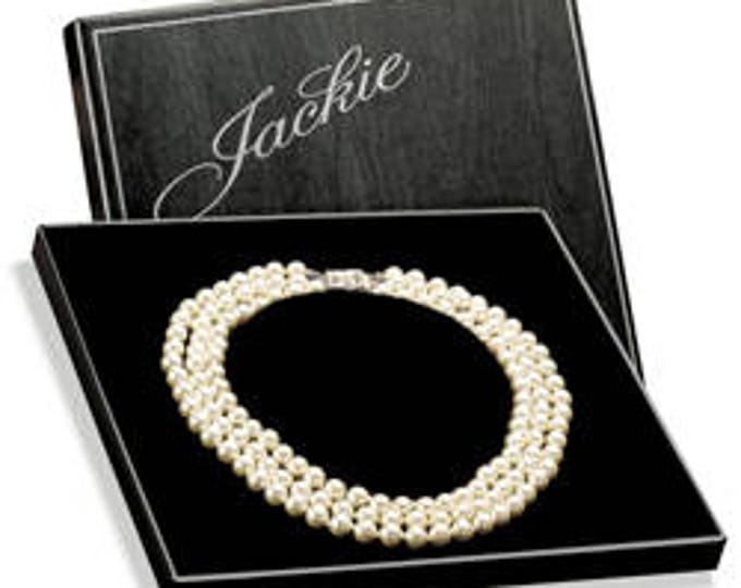 Franklin Mint Jackie Kennedy Pearl Necklace with Certificate and Box - S2246
