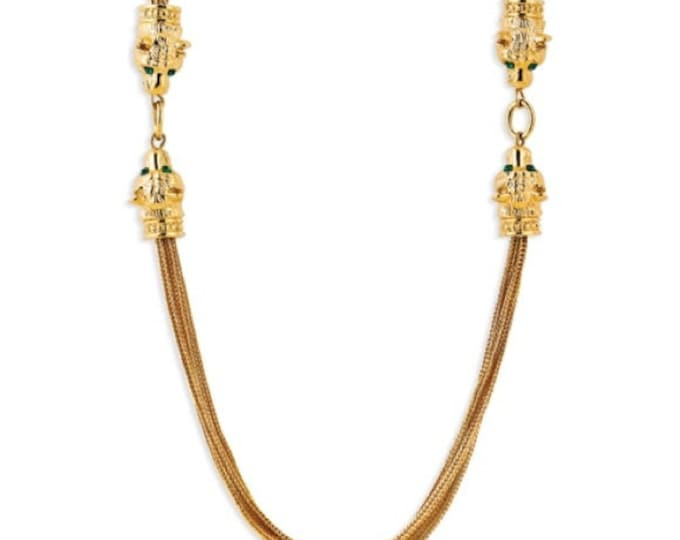 Jackie Kennedy Necklace - LION HEADS Gold with Crystals, Box and Certificate #215