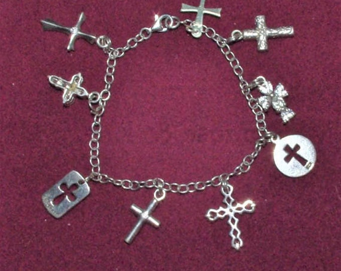 Sterling Silver Bracelet - Cross Charms Size 7 - TMS1