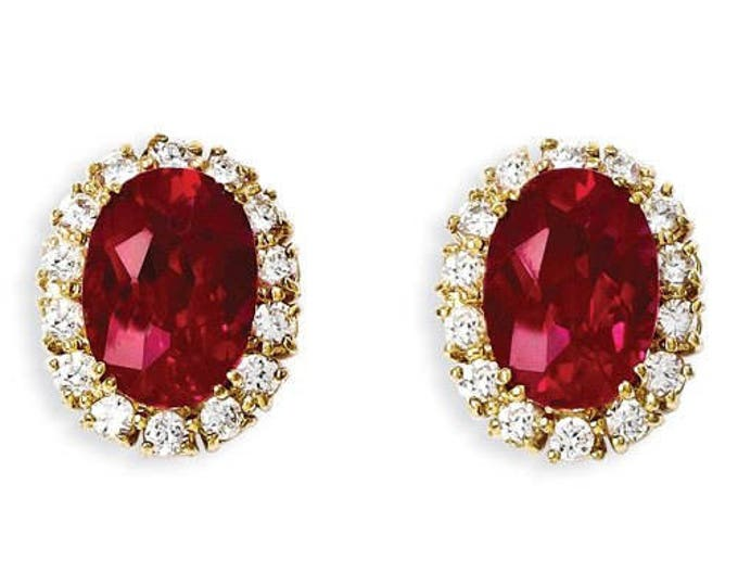 Jackie Kennedy Ruby Earrings - Gold Plated Metal with Stones - #275