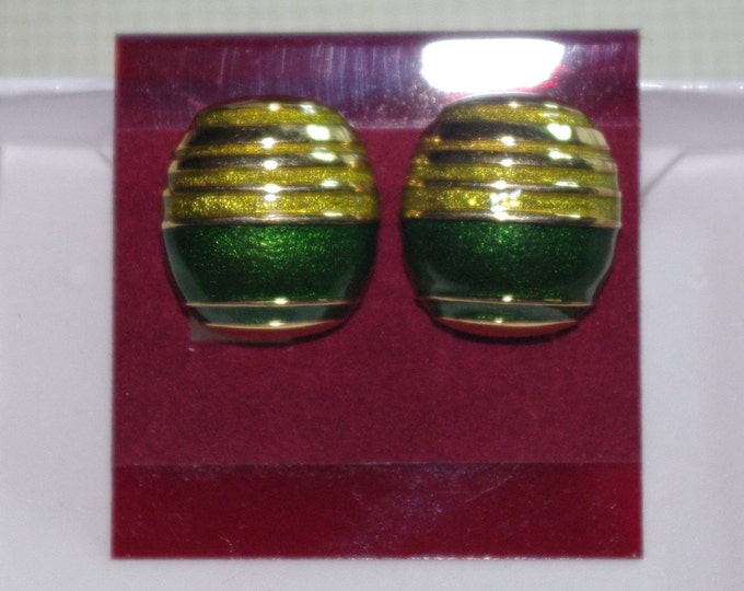 Joan Rivers Earrings -  Green and Gold Clip On -  S2498