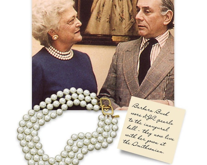 Kenneth Lane BARBARA BUSH Pearl Necklace - 3 Strands - #3225