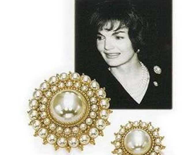 Jackie Kennedy Pearl Pin SET - 2 Gold Plated Pins - 151