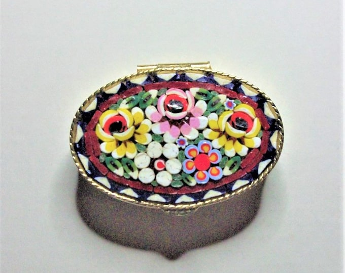 Oval Box with Italian Micro Mosaic Top - Great Gift Idea