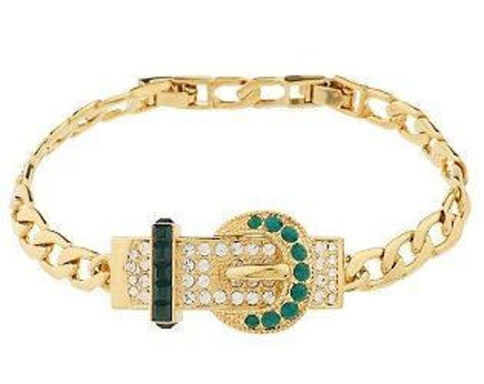 Jackie Kennedy Buckle Bracelet,  Gold Plated with Stones Size 7 or 8 - 74