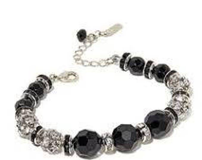 Audrey Hepburn Beaded Bracelet - Black and Crystal - Size 7 to 8  - 321 tms1