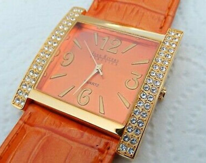 Joan Rivers Watch - ORANGE Face and Band with Crystals -          S3218