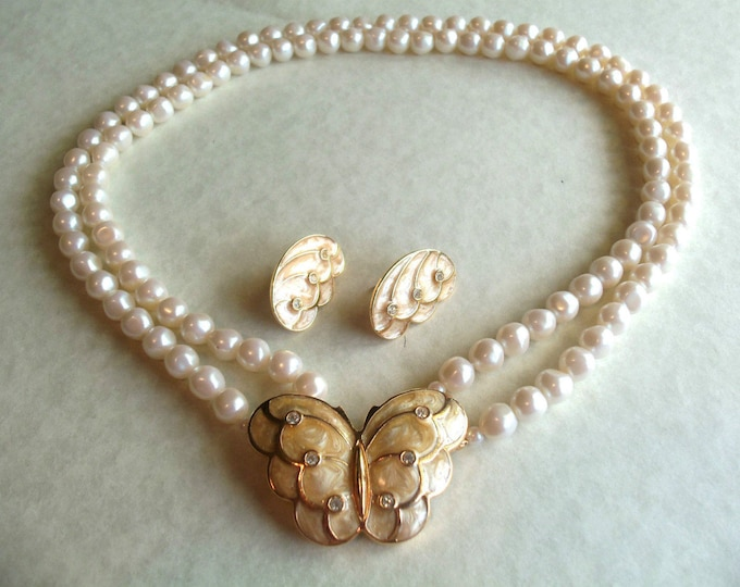 Kenneth Lane Jewelry SET - Pearl and Butterfly - S1891