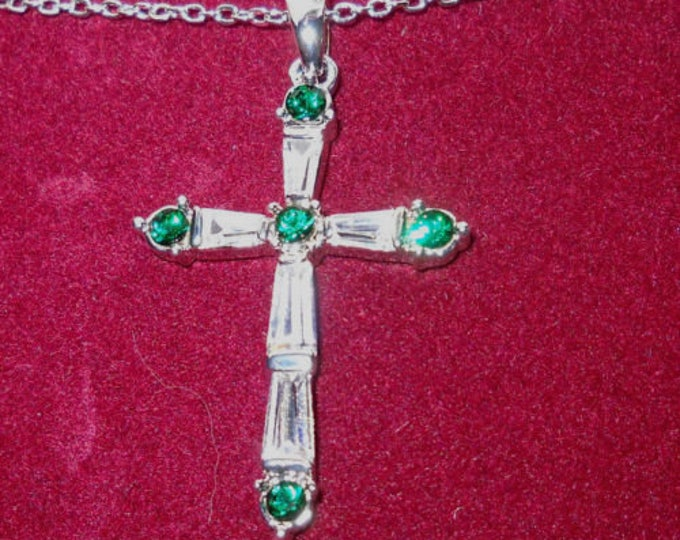 Jackie Kennedy Silver Cross Necklace with Stones