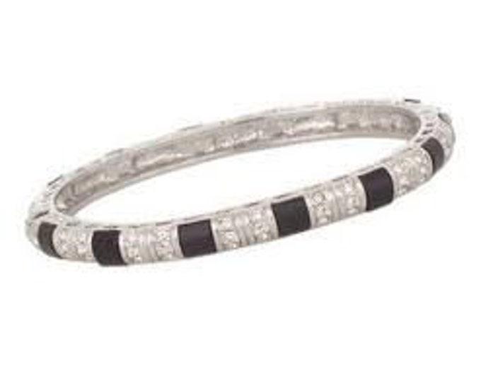 Jackie Kennedy Truman Bangle - Silver, Black Onyx and Stones - 137