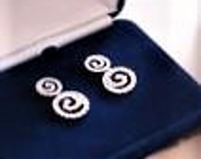 Jackie Kennedy Swirl Earrings - Platinum Plated with Crystals - Pierced #138