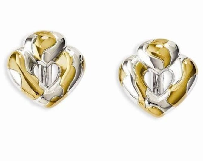 Jackie Kennedy Earrings - Heart Shaped Two Tone Clip Ons with Certificate - 17