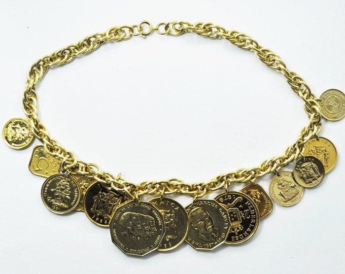 Franklin Mint Necklace - Golden Caribbean Coins