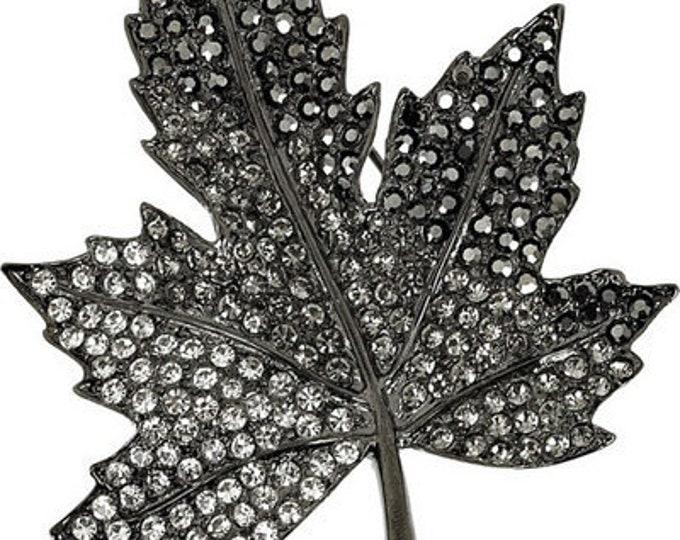Kenneth Lane Brooch - Black Crystal Leaf -  S3046