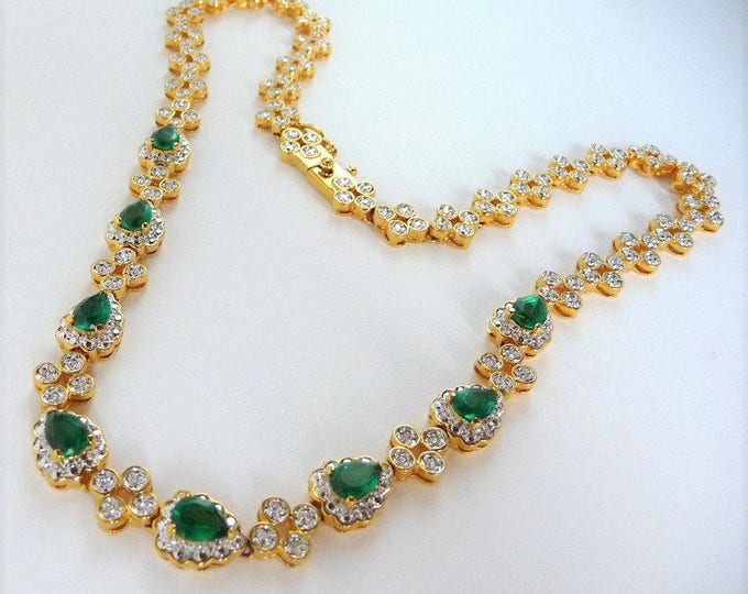 Jackie Kennedy Emerald Necklace - Gold Plated with Stones  -  #197