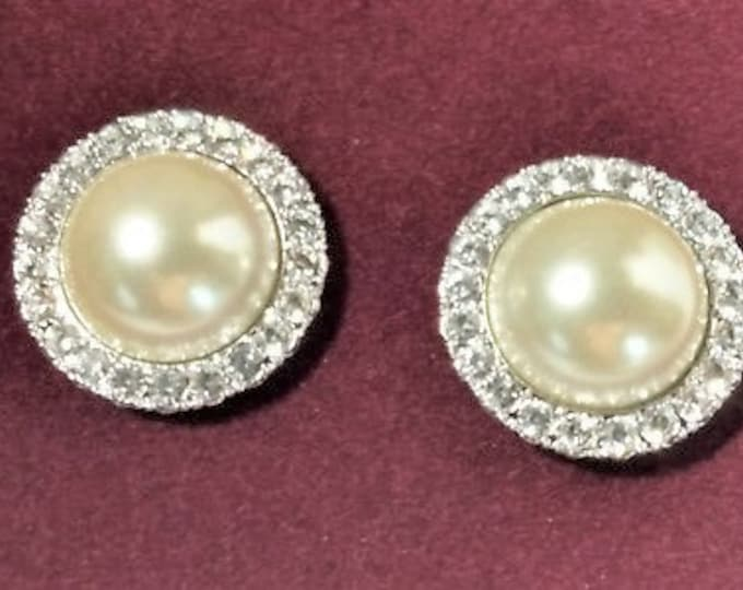 Pearl Earrings with Crystals Set in Sterling Silver - Pierced - S3189