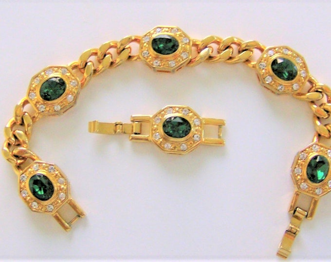 Jackie Kennedy Bracelet - Emerald and Crystal - Sizes 6.25 to 7.5 with Box and Certificate - 155