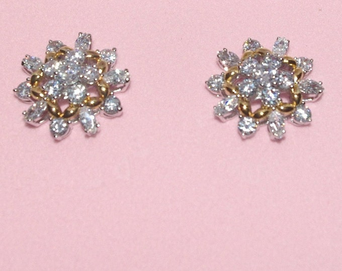 Audrey Hepburn Crystal Pierced Earrings with Gold Accents