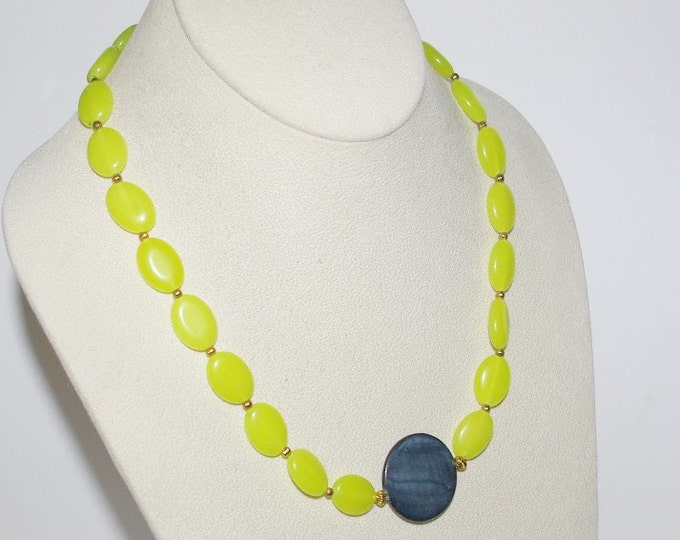 Gemstone Necklace with Magnetic Clasp - Yellow Jade and Abalone             - S210