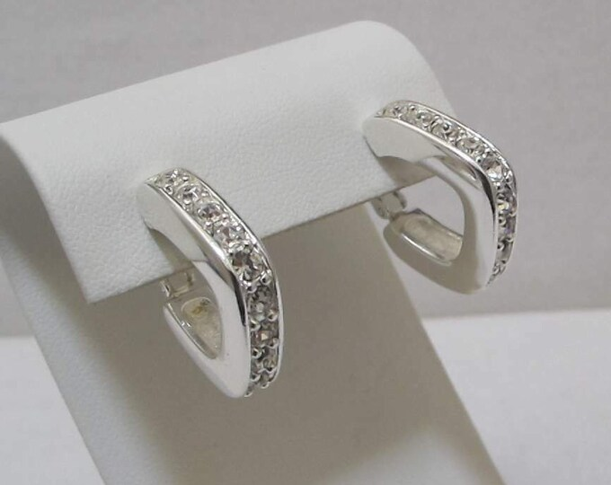 Joan Rivers Square  Hoop Earrings in Silver and Crystal - S3247