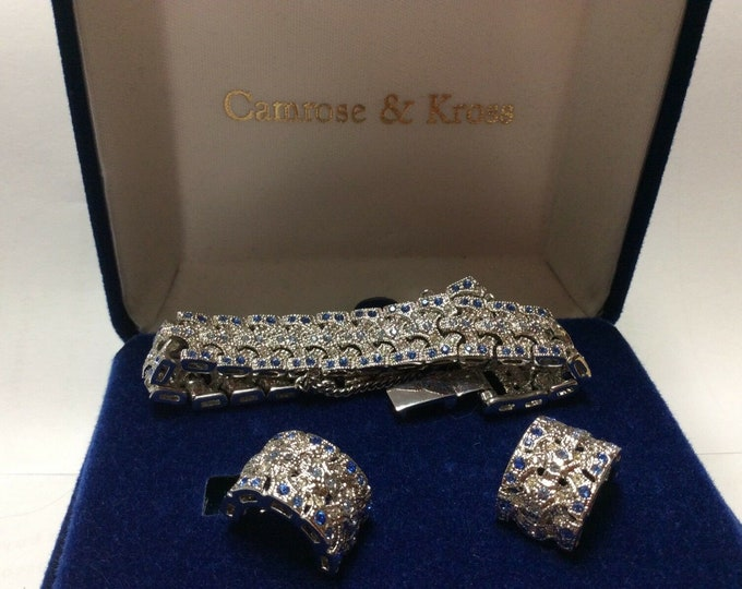 Jackie Kennedy Jewelry SET - Silver and Sapphire Bracelet & Earrings with Certificate