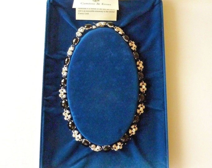 Jackie Kennedy Onyx Necklace, Silver with Onxy and Crystals - #189