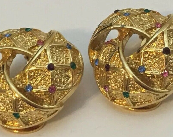 Joan Rivers Gold Clip On Earrings with Stones - S3196