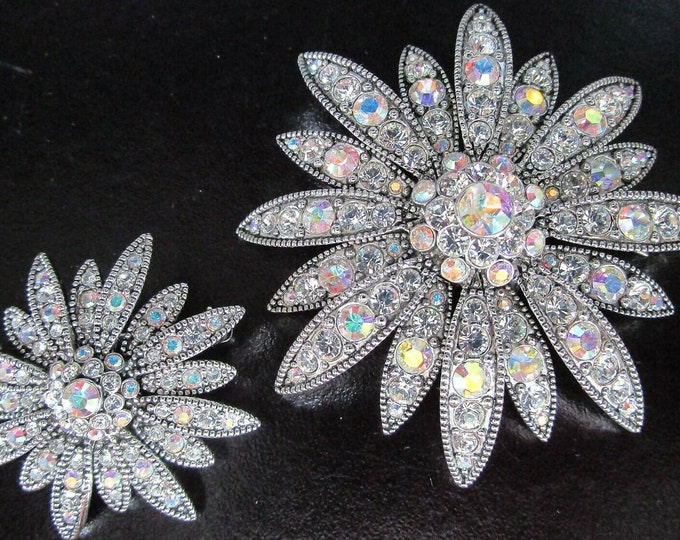 Joan Rivers Pin Set - Large and Small Daisy Flower with AB Crystals - S3221