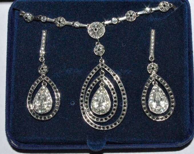 Jackie Kennedy Jewelry SET -  Silver and Crystal Teardrop Necklace and Earrings with Certificate