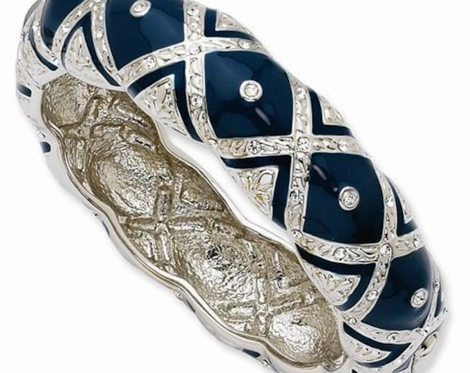 Jackie Kennedy Rose Garden Bangle - Blue and Silver with Stones - 289