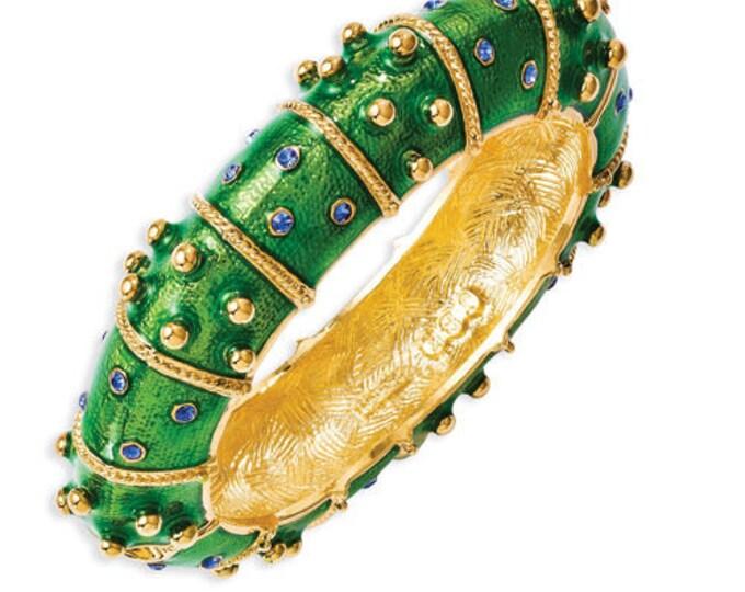Jackie Kennedy Green Bangle Bracelet | Size  6.5 - No. 264