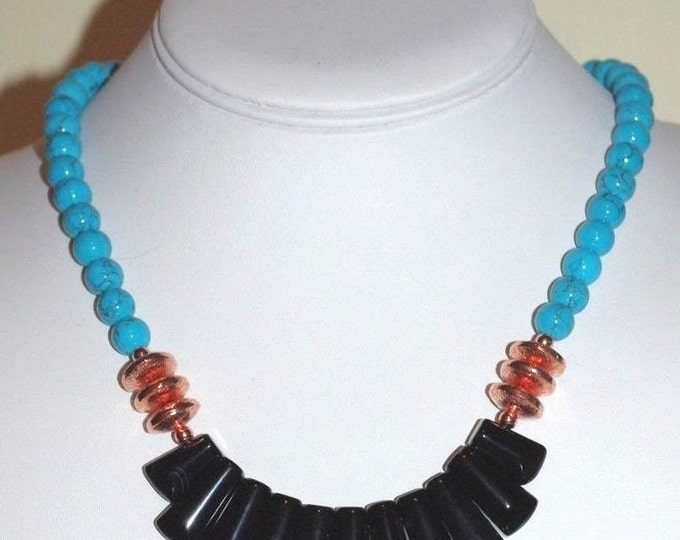 Turquoise Necklace with Black Agate Bib  - S2374