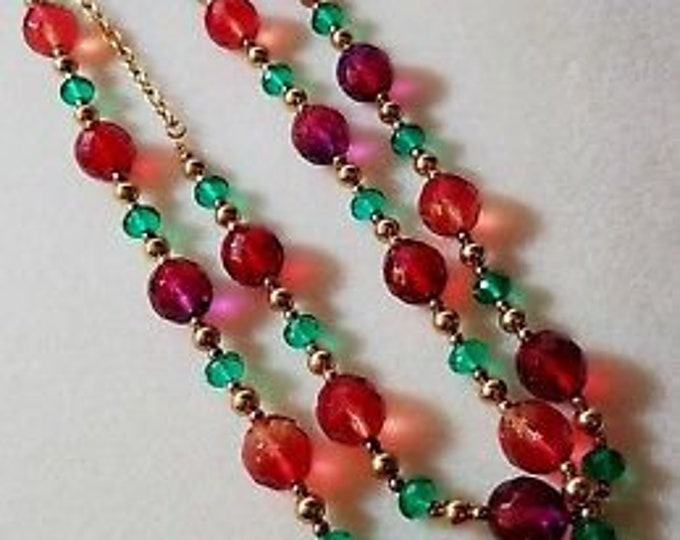 Joan Rivers Necklace - Long with Red, Green and Gold Beads - S3104