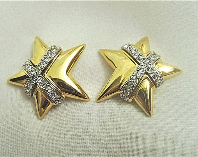 Joan Rivers Gold and Crystal Star Pierced Earrings - S2295
