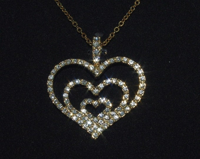 Nolan Miller Jewelry Set - Crystal Heart Necklace and Earrings  - S1518-1519
