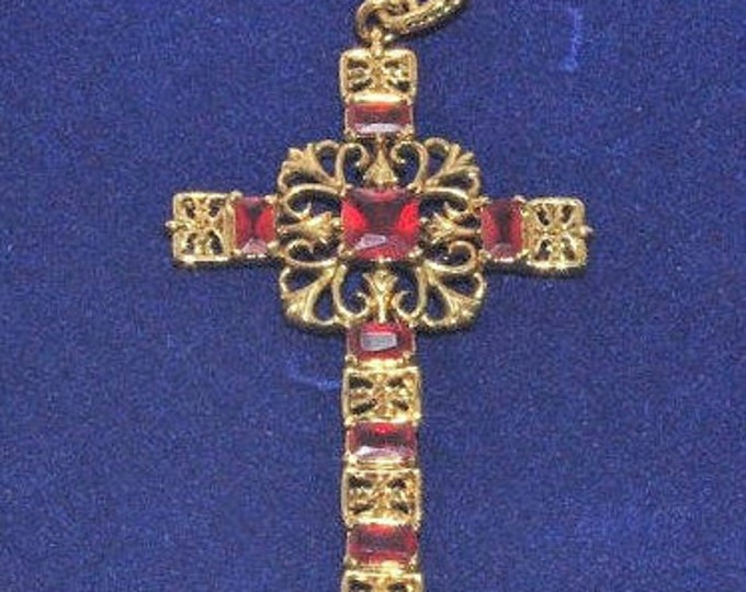 Jackie Kennedy Cross Necklace - Gold Plated Necklace with Red Stones