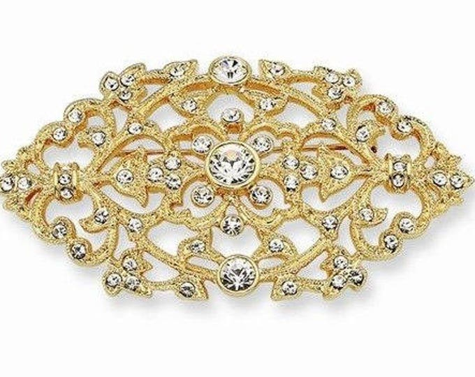 Jackie Kennedy Floral Filigree Brooch - Gold Plated with Clear Stones - 409