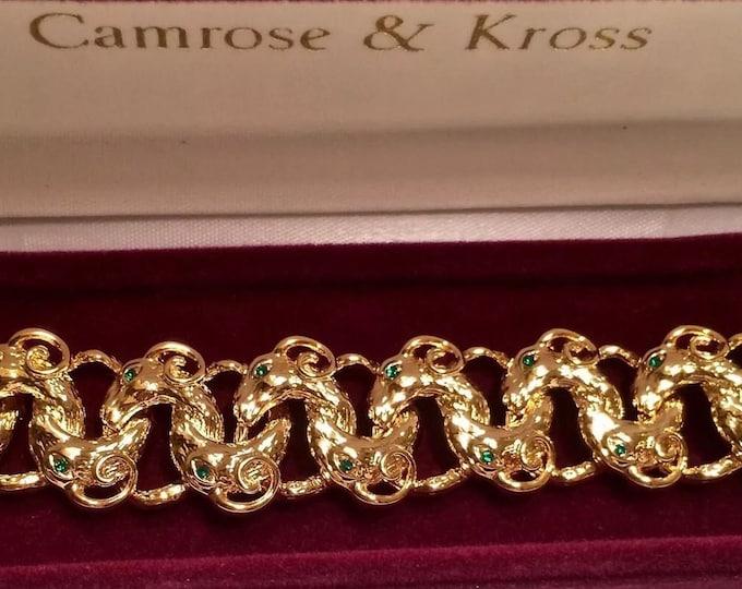 Jackie Kennedy Ram Heads Bracelet - Gold with Green Stones - Size 7 to 8 - 320