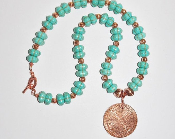 Turquoise Necklace with Aztec Myan Coin Pendant - S2362