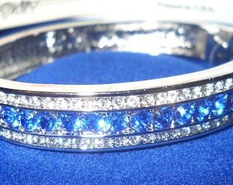 Jackie Kennedy Silver Bracelet with Blue Stones - 126
