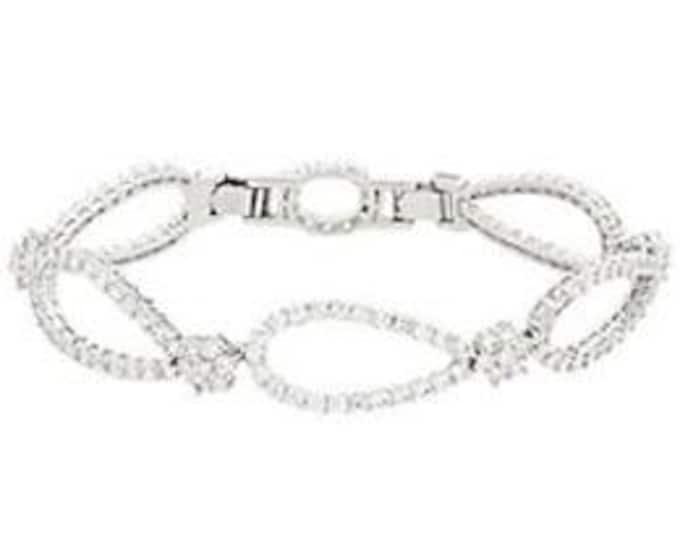 Jackie Kennedy Crystal Bracelet - Monte Carlo Bracelet - Silver with Stones, Size 7 - 80