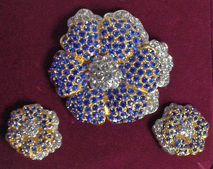 Jackie Kennedy Jewelry Set - Crystal Flower Set, Gold Jewelry Set, Blue Pin and Earrings -  Empress Jewelry Set