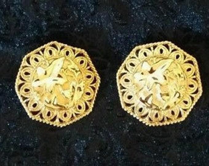 Jose Barrera Gold Earrings - Falling Leaves Clip On Earrings - AVON - S1848 1843