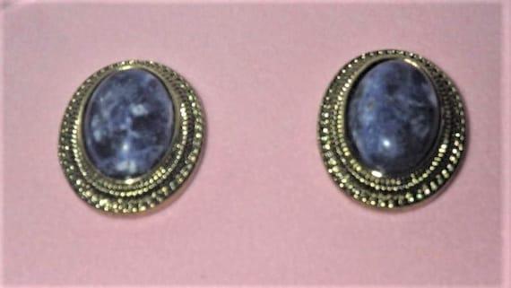 Audrey Hepburn Earrings -  Denim Blue Sodalite Pie