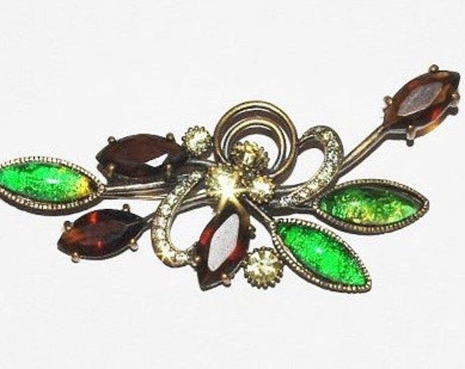 Joan Rivers Victorian Pin - Green and Topaz - S1233