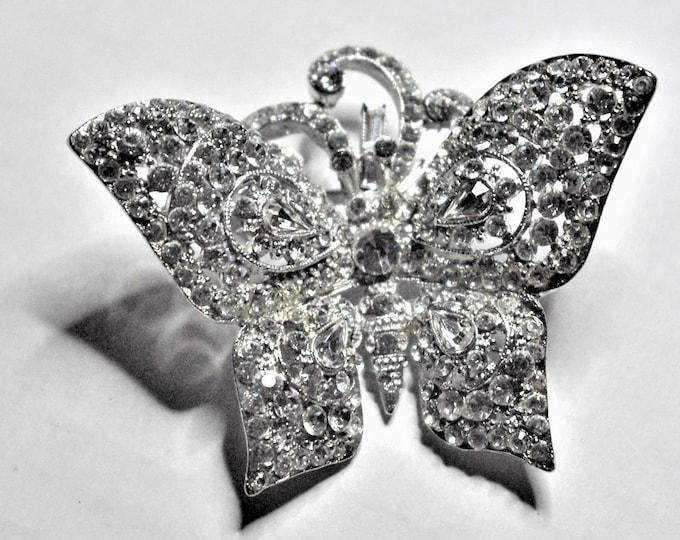 Jose Barrera Crystal Brooch - Silver Butterfly Pin - Avon Butterfly Pin - No. 3043