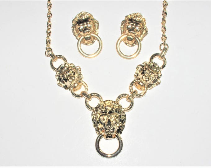 Kenneth Lane Lion Head Necklace and Earrings - S1689  (Pierced)