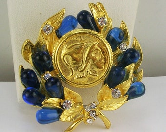 Jackie Kennedy Greek Coin Pin with Blue Stones - 406