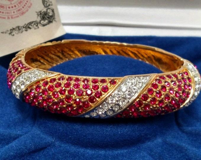 Jackie Kennedy Ruby Bracelet - Gold with Stones - Sz Small -  123